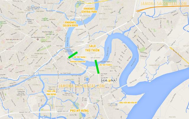 Vị trí Jamona Golden Silk và các khu đô thị trọng điểm của Thành phố Hồ Chí Minh.